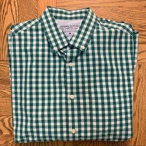Men's Green Plaid Button Down Shirt